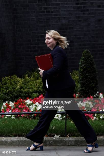 Britain's Northern Ireland Secretary Karen Bradley arrives at 10 Downing Street in London on June 7 2018 British Prime Minister Theresa May is set to...