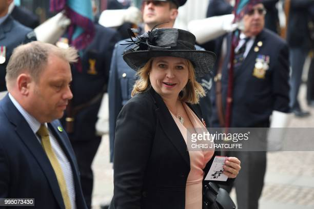 Britain's Northern Ireland Secretary Karen Bradley arrives for a service to mark the centenary of the Royal Air Force at Westminster Abbey in central...