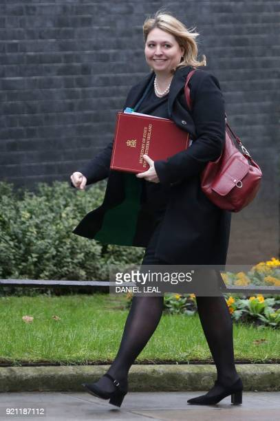 Britain's Northern Ireland Secretary Karen Bradley arrives in Downing street for the weekly cabinet meeting in London on February 20 2018 / AFP PHOTO...