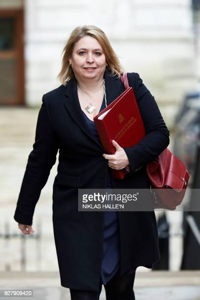 Britain's Northern Ireland Secretary Karen Bradley arrives in Downing street on central London on March 6 2018 for the weekly meeting of the Cabinet...