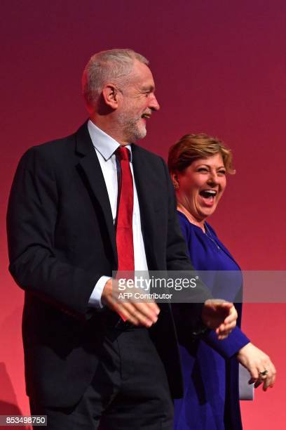 Britain's opposition Labour party leader Jeremy Corbyn and Opposition Labour Party Shadow Foreign Secretary Emily Thornberry smile after managing...