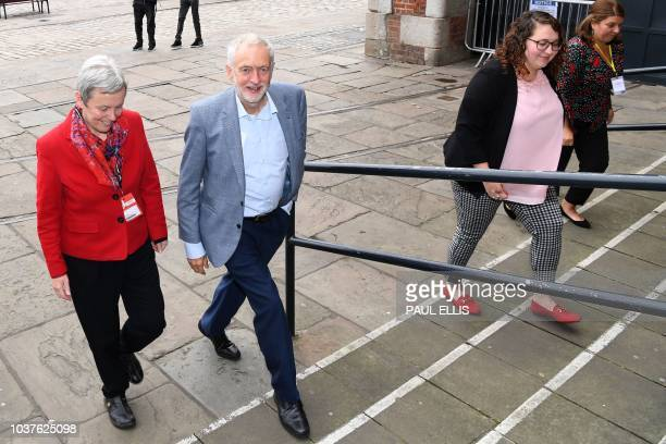 Britain's opposition Labour Party leader Jeremy Corbyn arrives for a visit to the International Slavery Museum in Liverpool on September 22 the eve...