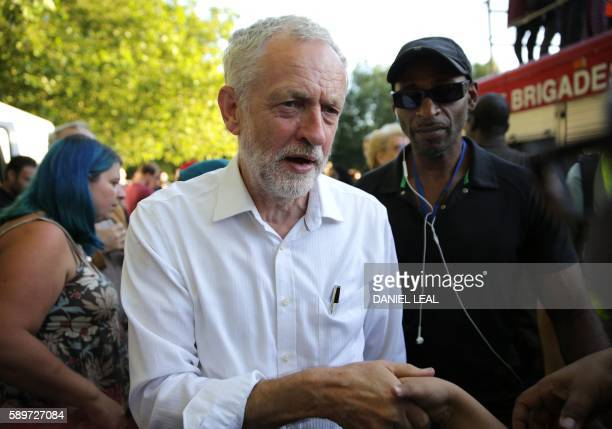 Britain's opposition Labour Party Leader Jeremy Corbyn arrives to attend a Black Asian and minority ethnic rally in north London on August 15 2016...