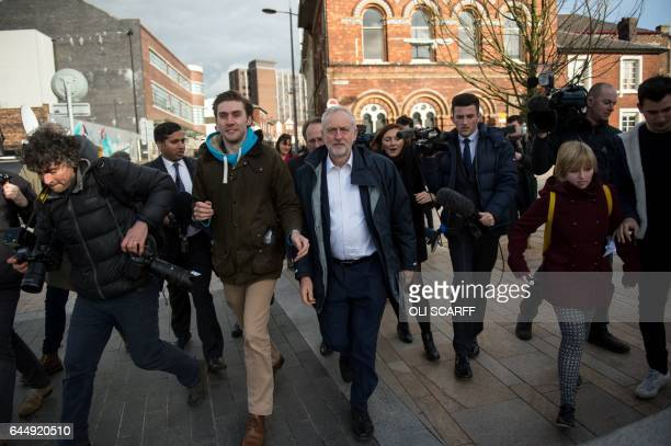 Britain's Opposition Labour Party leader Jeremy Corbyn arrives to congratulate Gareth Snell the newlyelected Labour member of parliament for the...