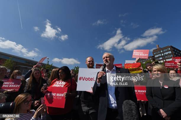 Britain's opposition Labour party Leader Jeremy Corbyn campaigns with Labour MP for Salford and Eccles Rebecca LongBailey in Salford northwest...
