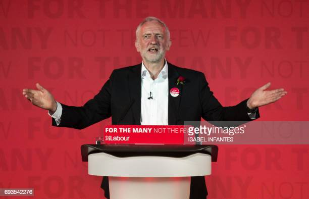 Britain's opposition Labour Party leader Jeremy Corbyn delivers his final campaign speech at an election rally at Union Chapel in Islington, north...