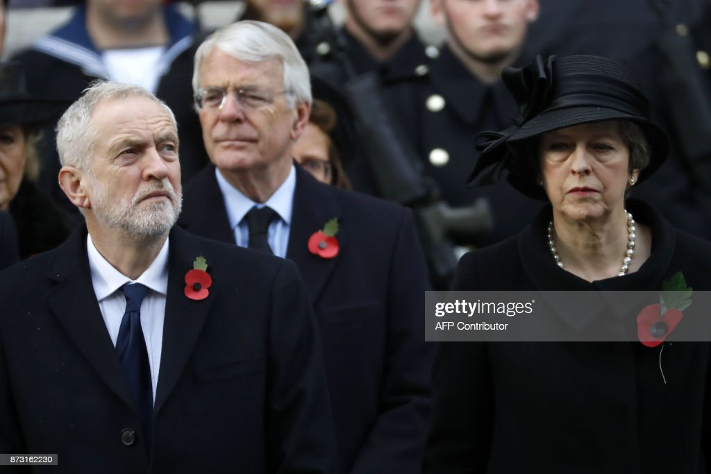 Britain's opposition Labour Party Leader Jeremy Corbyn, former British prime minister John Major and British prime minister Theresa May attend the Remembrance Sunday ceremony at the Cenotaph on Whitehall in central London, on November 12, 2017. Services are held annually across Commonwealth countries during Remembrance Day to commemorate servicemen and women who have fallen in the line of duty since World War I. / AFP PHOTO / Tolga AKMEN