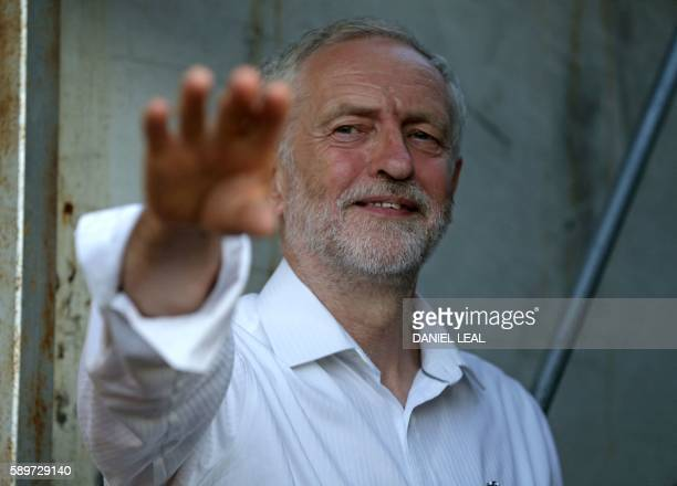 Britain's opposition Labour Party Leader Jeremy Corbyn gestures as he prepares to speak at a Black Asian and minority ethnic rally in north London on...