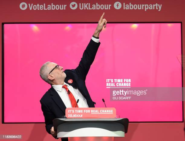 TOPSHOT Britain's opposition Labour Party leader Jeremy Corbyn gestures at the launch of the Labour party election manifesto in Birmingham northwest...