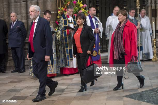 Britain's opposition Labour party Leader Jeremy Corbyn his wife Laura Alvarez and Labour party politician Emily Thornberry attend a Commonwealth Day...
