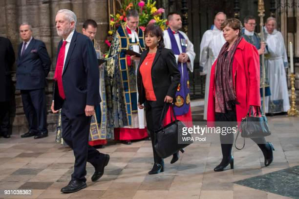 Britain's opposition Labour party Leader Jeremy Corbyn his wife Laura Alvarez and Labour party politician Emily Thornberry attend the Commonwealth...
