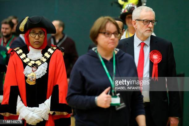 Britain's opposition Labour Party leader Jeremy Corbyn leaves after retaining his seat to be MP for Islington North at the count centre in Islington...
