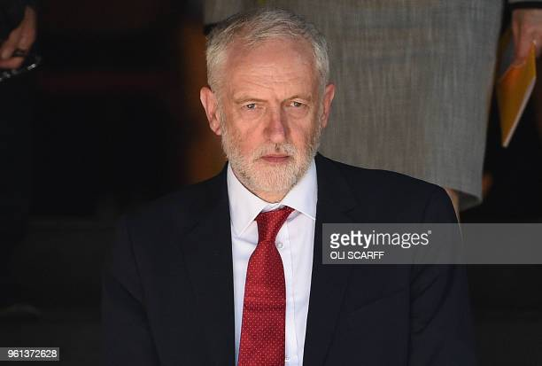 Britain's opposition Labour party Leader Jeremy Corbyn leaves after attending The Manchester Arena National Service of Commemoration at Manchester...