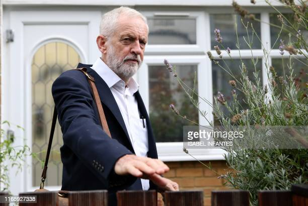 Britain's opposition Labour party leader Jeremy Corbyn leaves his home in north London on September 4 2019 British Prime Minister Boris Johnson lost...