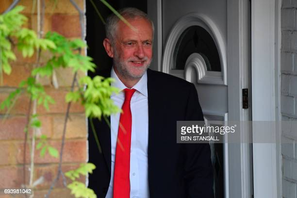 Britain's opposition Labour party Leader Jeremy Corbyn leaves his home in north London on June 9 2017 after results in a snap general election...