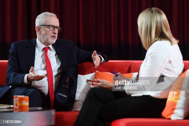 Britain's opposition Labour Party leader Jeremy Corbyn reacts as he speaks to news presenter Louise Minchin as he appears on the BBC's Breakfast from...