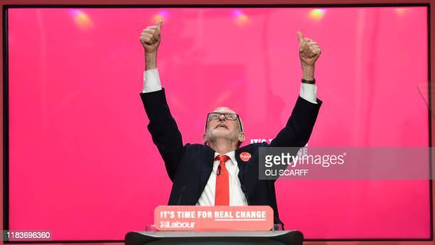 TOPSHOT Britain's opposition Labour Party leader Jeremy Corbyn reacts during the launch of the Labour party election manifesto in Birmingham...