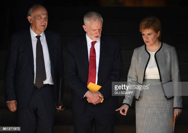 Britain's opposition Labour party Leader Jeremy Corbyn Scotland First Minister Nicola Sturgeon and Britain's leader of the Liberal Democrats Vince...