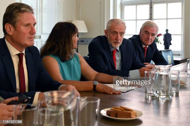 Britain's opposition Labour Party leader Jeremy Corbyn sits with members of his shadow cabinet shadow Brexit minister Keir Starmer shadow Leader of...