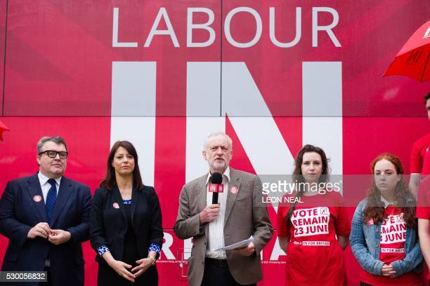Britain's opposition Labour Party leader Jeremy Corbyn speaks beside shadow Minister for Young People and Voter Registration Gloria De Piero and...