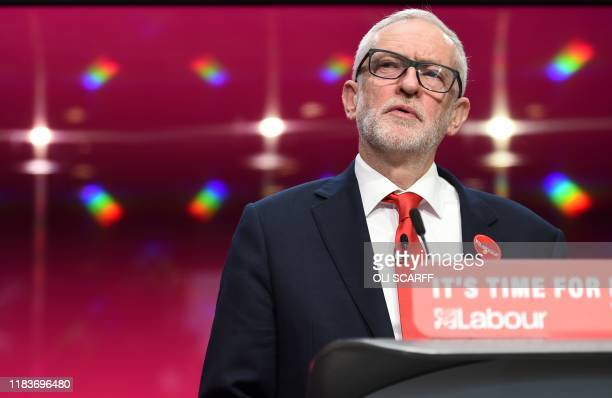 Britain's opposition Labour Party leader Jeremy Corbyn speaks during the launch of the Labour party election manifesto in Birmingham, northwest...