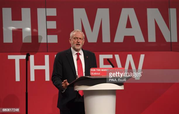 Britain's opposition Labour party Leader Jeremy Corbyn speaks during his general election campaign launch in Manchester northwest England on May 9...
