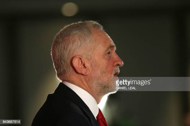 Britain's opposition Labour party leader Jeremy Corbyn speaks during the launch of Labours local election campaign in central London on April 9, 2018.