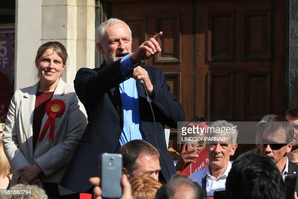 Britain's opposition Labour party Leader Jeremy Corbyn speaks to supporters at general election campaign visit in York northern England on May 10...