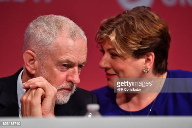 Britain's opposition Labour party leader Jeremy Corbyn speaks with Opposition Labour Party Shadow Foreign Secretary Emily Thornberry on the second...