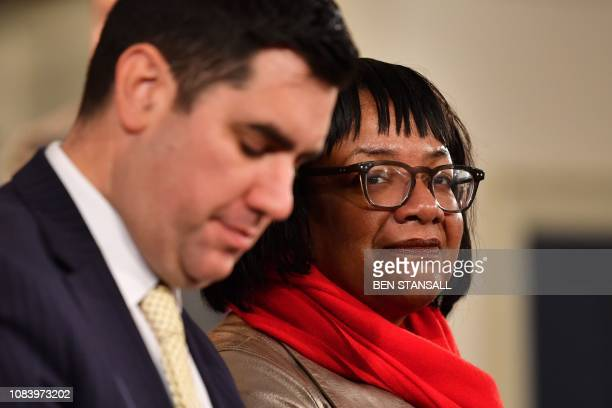 Britain's opposition Labour Party MP Diane Abbott attends an event at which leader Jeremy Corbyn gave a speech in Hastings southeast England on...