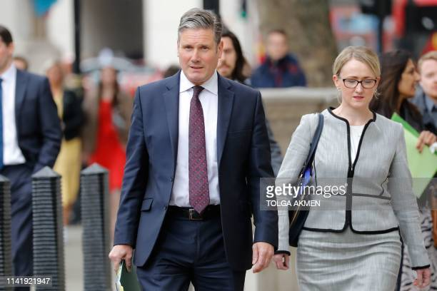 Britain's opposition Labour party's Brexit spokesman Keir Starmer and Shadow Secretary of State for Business Energy and Industrial Strategy Rebecca...