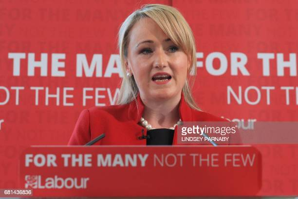 Britain's opposition Labour party's Shadow Business Sectretary Rebecca LongBailey speaks during a general election campaign visit in Leeds northern...