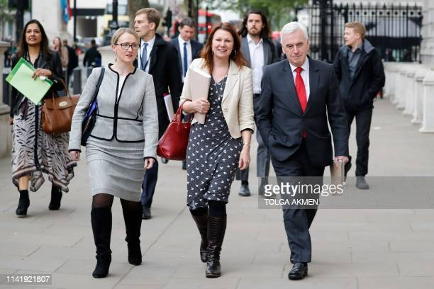 Britain's opposition Labour party's shadow environment secretary Sue Hayman Shadow chancellor John McDonnell and Labour's Shadow Secretary of State...