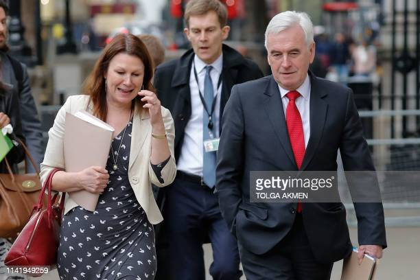 Britain's opposition Labour party's shadow environment secretary Sue Hayman and Shadow chancellor John McDonnell arrive for continuing Brexit talks...