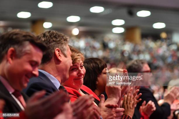 Britain's opposition Labour party's Shadow Foreign Secretary Emily Thornberry reacts as she talks with Britain's opposition Labour party's Shadow...