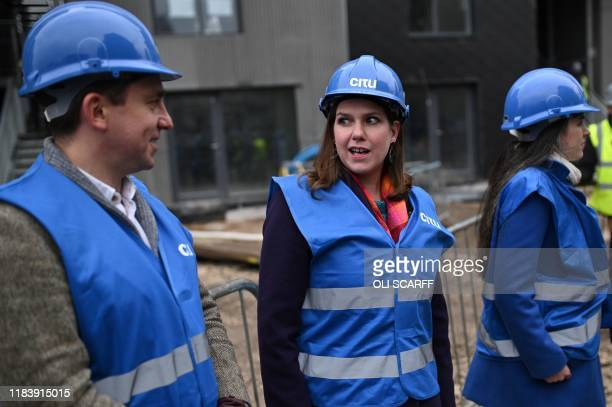 Britain's opposition Liberal Democrats leader Jo Swinson gestures during a general election campaign visit to an eco home building site in Sheffield...