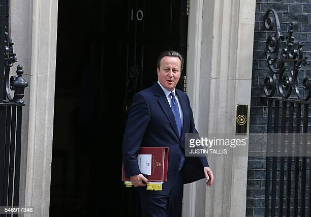 Britain's outgoing Prime Minister David Cameron leaves 10 Downing Street in central London on July 13 as he prepares to address his last Prime...