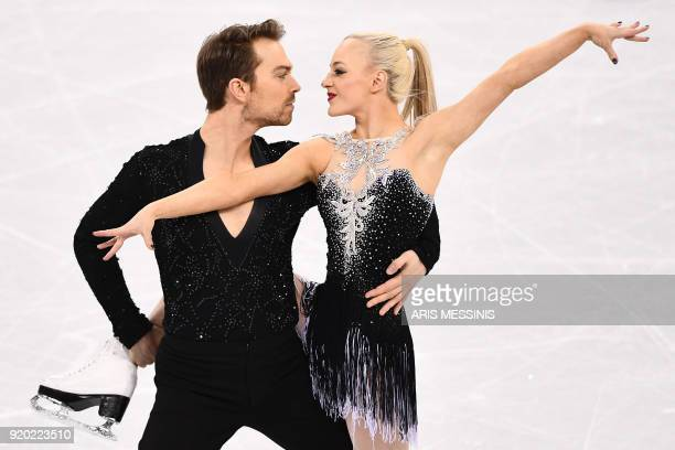 TOPSHOT Britain's Penny Coomes and Britain's Nicholas Buckland compete in the ice dance short dance of the figure skating event during the...