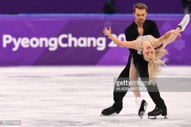 Britain's Penny Coomes and Britain's Nicholas Buckland compete in the ice dance short dance of the figure skating event during the Pyeongchang 2018...