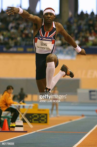 Britain's Phillips Idowu competes in the finals of the Men's triple jump on March 9, 2008 at the IAAF World Indoor Championships in Valencia. Idowu...
