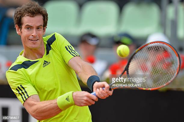 Britain's player Andy Murray returns the ball to Austria's Juergen Melzer during the Rome Masters Tennis tournament on May 15 at the Foro Italico in...