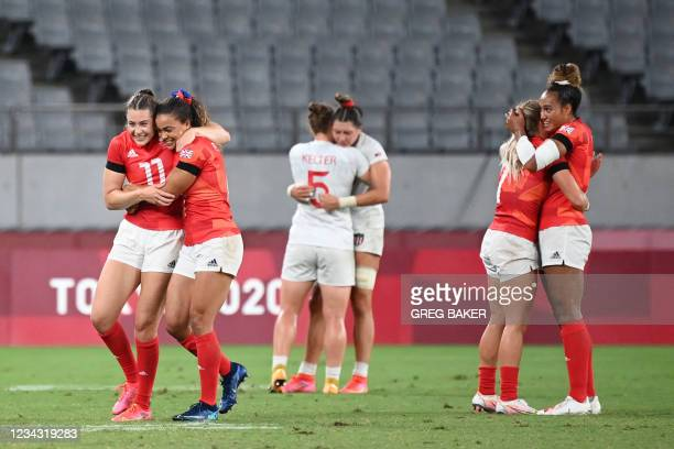 Britain's players celebrate their win in the women's quarter-final rugby sevens match between USA and Britain during the Tokyo 2020 Olympic Games at...