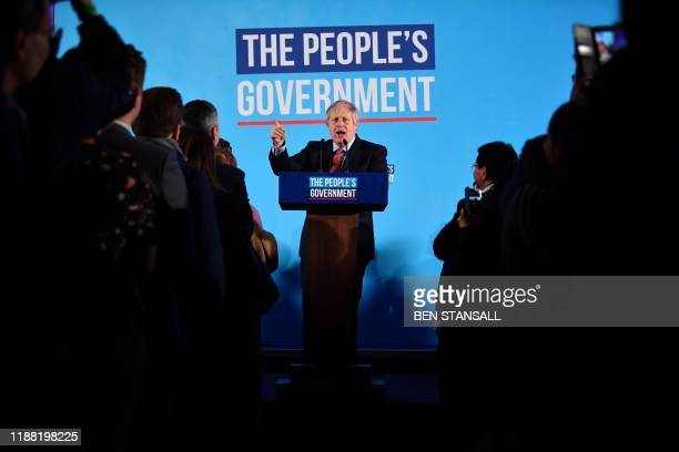 Britain's Prime Minister and leader of the Conservative Party, Boris Johnson speaks during a campaign event to celebrate the result of the General...