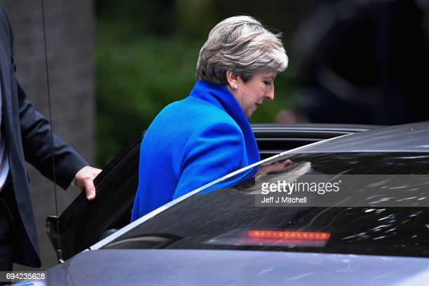 Britain's Prime Minister and leader of the Conservative Party Theresa May leaves 10 Downing Street en route to Buckingham Palace to meet Queen...