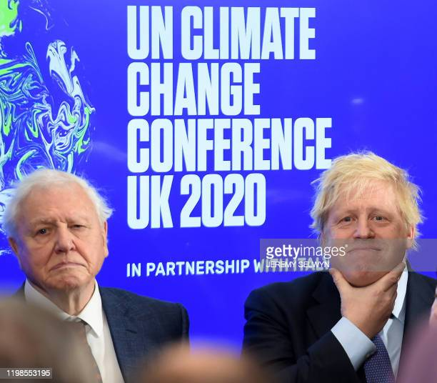 Britain's Prime Minister Boris Johnson and British broadcaster and conservationist David Attenborough attend an event to launch the United Nations'...