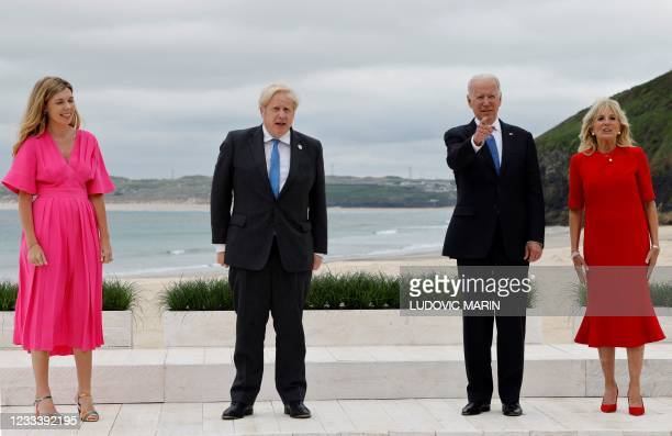 Britain's Prime Minister Boris Johnson and Carrie Johnson pose with US President Joe Biden and US First Lady Jill Biden during the G7 summit in...