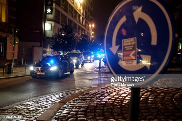 Britain's Prime Minister Boris Johnson arrives in his car at the Berlaymont building on December 09, 2020 in Brussels, Belgium. The British prime...