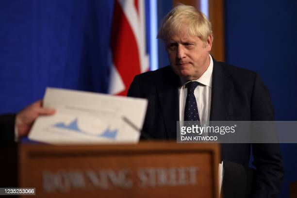 Britain's Prime Minister Boris Johnson attends a media briefing on the latest Covid-19 update, at Downing Street, central London on September 14,...