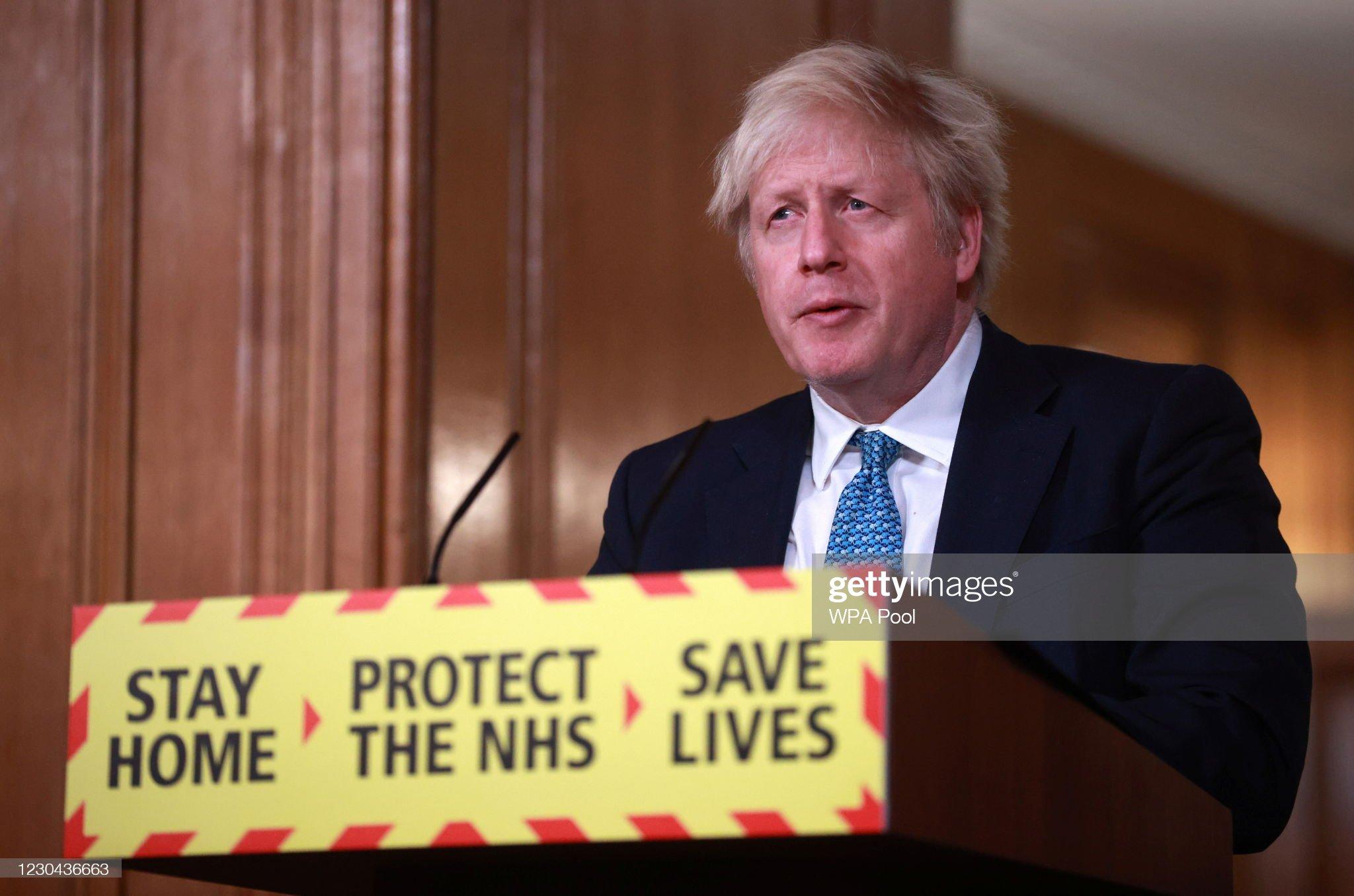Boris Johnson Holds Press Conference On The Third National Coronavirus Lockdown : News Photo