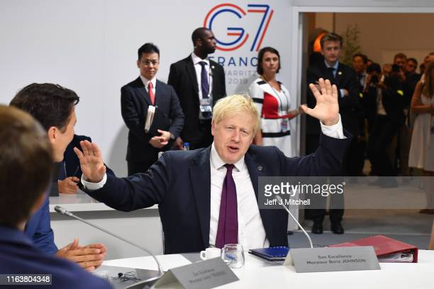 Britain's Prime Minister Boris Johnson attends the first working session of the G7 Summit on August 25 2019 in Biarritz France The French...